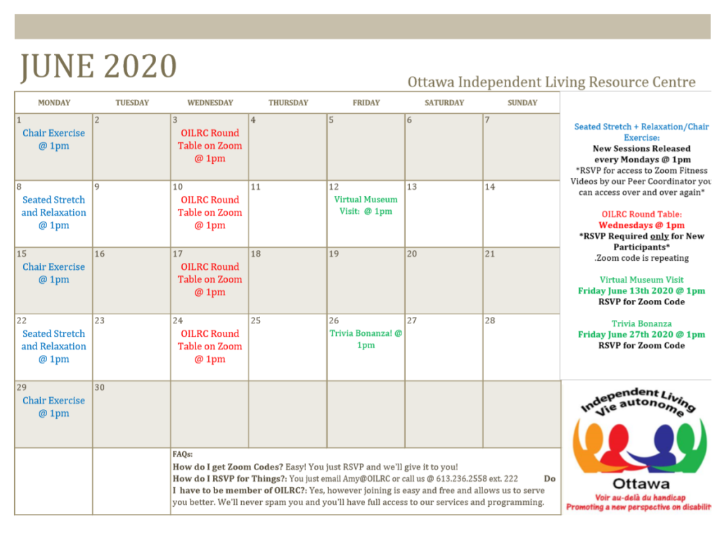 June 2020 OILRC Calendar. Mondays new pre-recorded Zoom exercise sessions come out you just need to request the code. Wednesdays is OILRC Round Table at 1pm. Zoom codes repeats and can be requested through Amy. Every other Friday holds a special program June 12th Virtual museum visit and June 26th @ 1pm Trivia Bonanza.